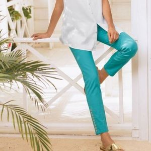 Soft Surroundings Colorful Metro Leggings Blue Turquoise Pullover Ankle Length L